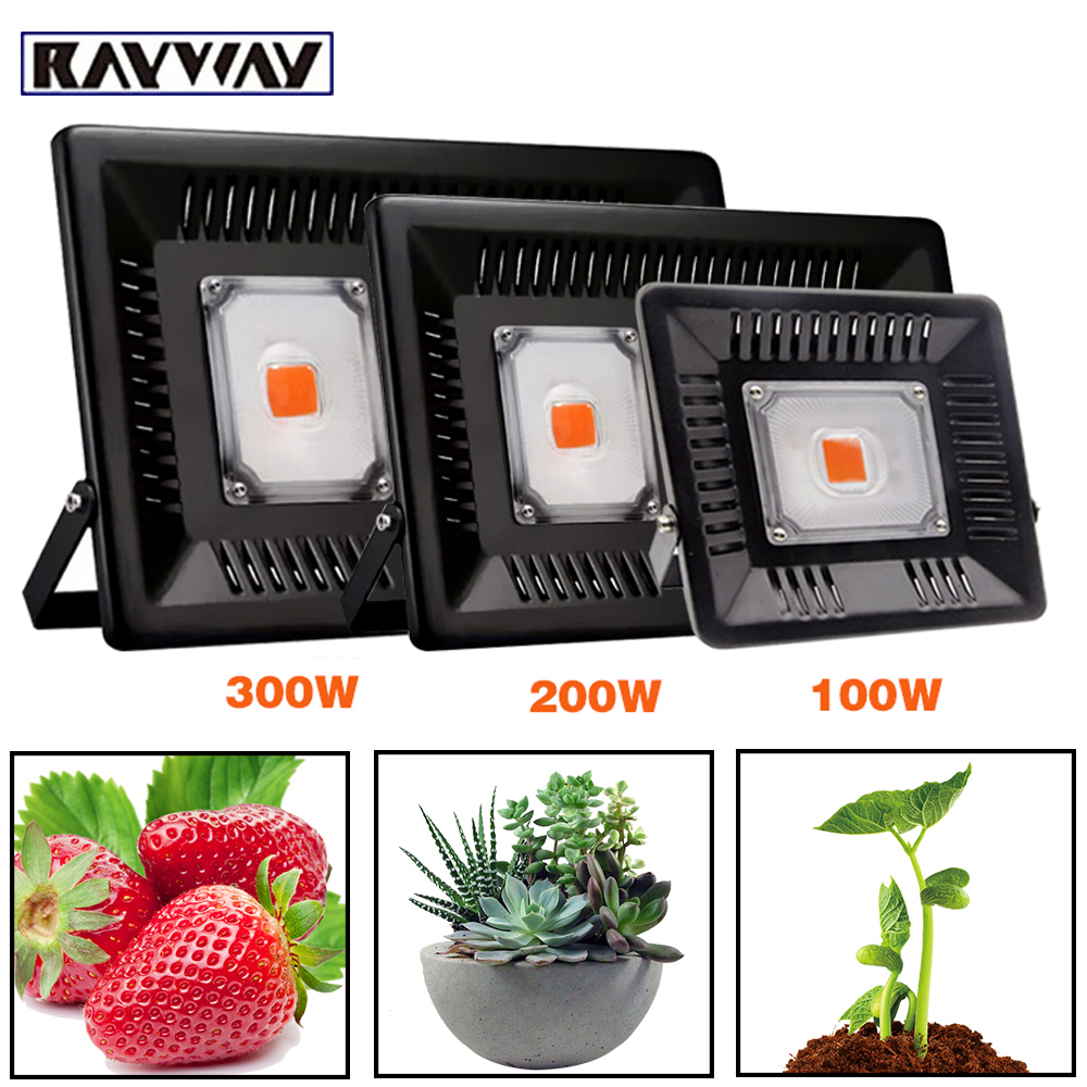 LED Grow Light 100W 200W 300W COB Full Spectrum Flood Light 400-850nm Waterproof Phyto Lamp For Indoor Plant Growth Hydroponic