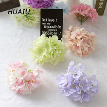 9pcs/lot Silk Hydrangea Flower Heads Artificial flower wall For Home wedding decoration DIY Decorative Flowers for New Year