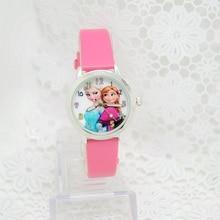 2016 Presale New Cartoon Children Watch Princess Elsa Anna Watches Fashion Girl Kids Student Cute Leather quartz Wrist Watches