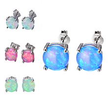 HOMOD European Style 6MM Round White/Blue/Purple Fire Opal Stud Earrings For Women 925 Sterling Silver Filled Jewelry Wholesale