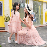 Family Matching Outfits Mesh Mother Daughter Dress Mom And Daughter Dresses Clothes Family Set Parent Child