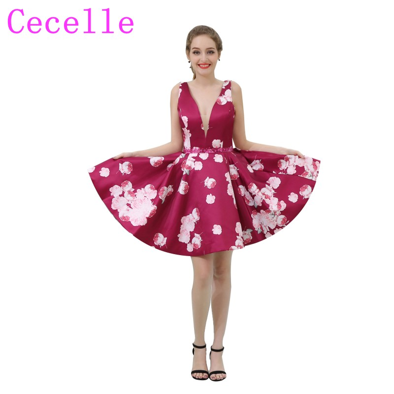 My Michelle Juniors Floral Printed Strapless High//Low Dress
