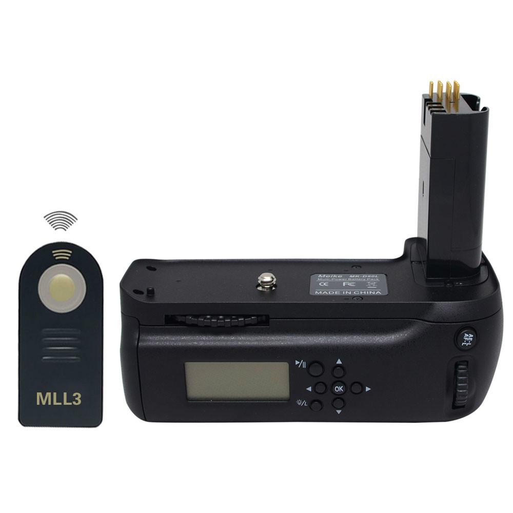 Prix pour Meike GRIP MBD80 MB-D80 LCD Minuterie Battery Grip pour Nikon D80 D90 REFLEX Numérique Caméra + ML-L3 Télécommande