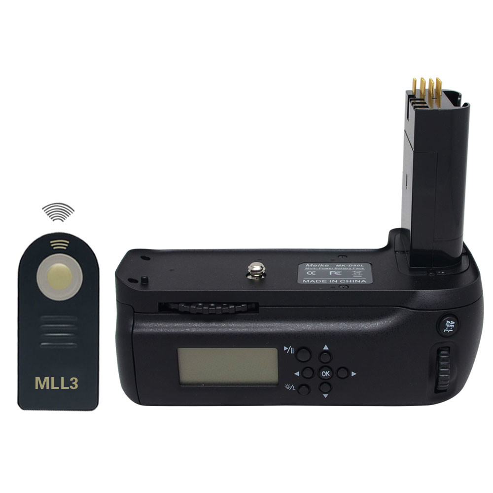 Meike MB-D80 LCD Timer Battery Grip for Nikon D80 D90 MBD80 SLR Digital Camera + ML-L3 Remote Control