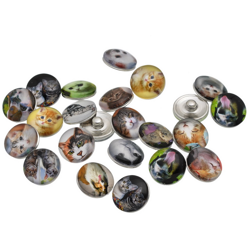 50Pcs Wholesale Mixed Animal Theme Cat Dog Patterns Round Glass Click Snap Press Buttons Crafts Making 18mm image