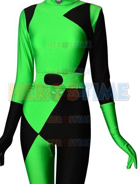 Новые черные и зеленый Шиго Ким возможно супер злодея Косплэй костюм спандекс лайкра Хэллоуин зентаи костюм для девочки/ женский