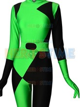 Newest Black & Green Shego Of Kim Possible Super Villain Cosplay Costume Spandex Lycra Halloween Zentai Suit For Girl/Female