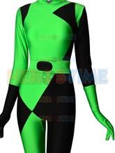 הכי חדש שחור & ירוק Shego של קים פוסיבול סופר נבל קוספליי תלבושות לייקרה ספנדקס ליל כל הקדושים מערער חליפה לילדה/נקבה