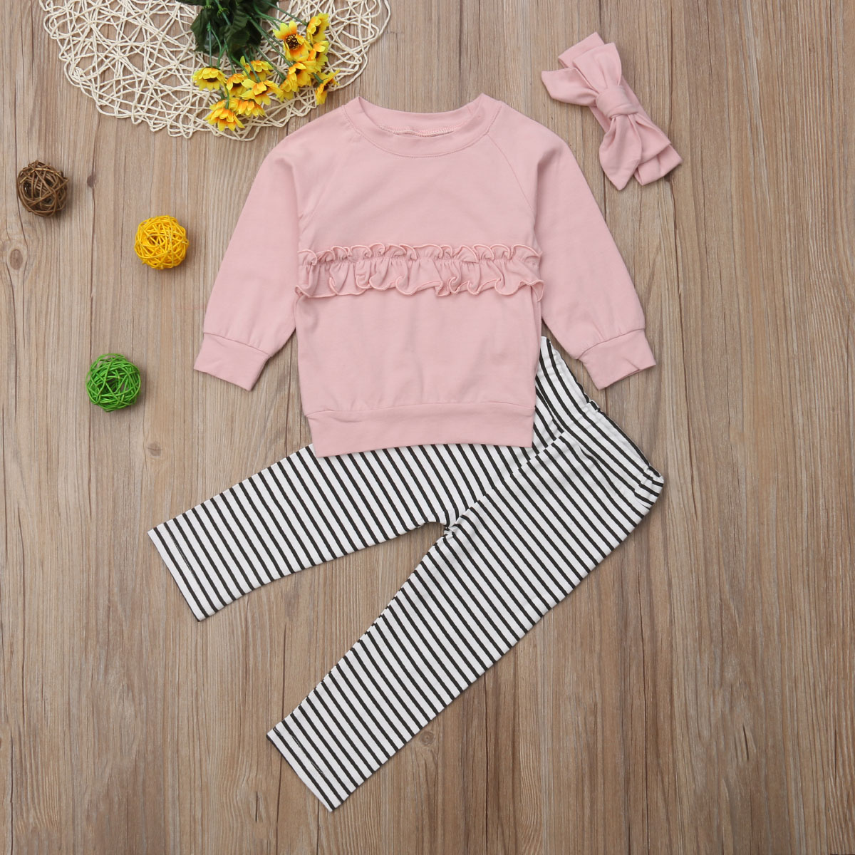 Pudcoco 2Pcs Autumn Casual Kid Baby Girl Clothes Set Long Sleeve T shirt Top Striped Pants Legging Outfit new in Clothing Sets from Mother Kids