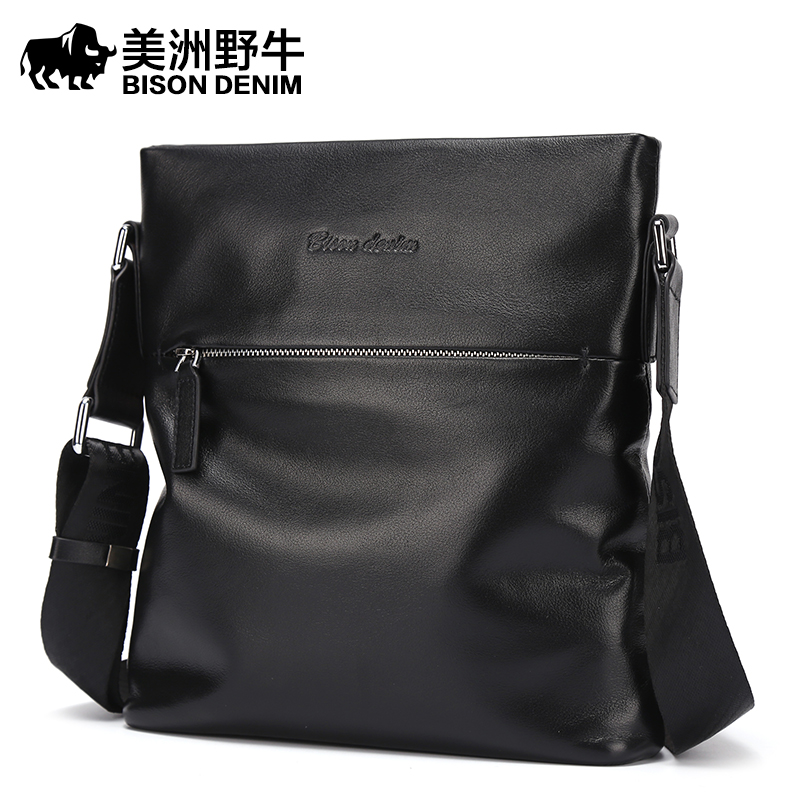 Brand BISON DENIM Top Genuine Leather Handbag Men Messenger Bag Casual Satchel Business Travel Crossbody Bag Men's Shoulder Bags men and women bag genuine leather man crossbody shoulder handbag men business bags male messenger leather satchel for boys