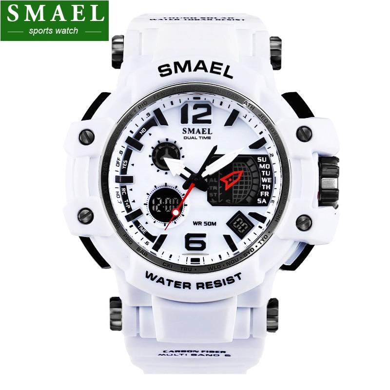 Mens relojes smael marca de lujo reloj de cuarzo digital LED reloj ejército Militar masculino reloj deportivo cronógrafo Relogio masculino,