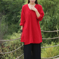 Solid White Black Red V Neck Long Sleeve Blouse Women Kimono Style Long Shirt Cotton Linen