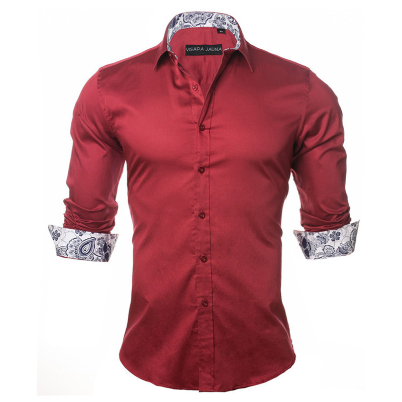 VISADA JAUNA Men's Shirt 2019 Fashion Casual Long Sleeve Solid 100% Cotton Slim Fit Dress Business Shirts Men Brand Clothing 5XL 4
