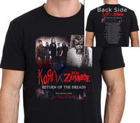 ROB ZOMBIE AND KORN RETURN OF THE DREADS 2016 TOUR T Shirt Band Rock Punk Tops