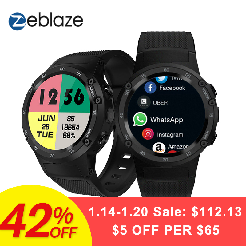 Zeblaze Thor 4 4G S LTE GPS WiFi Android Montre Smart Watch Flapship 1 GB + 16 GB 5MP Caméra fitness Tracker Smartwatch Montre-Bracelet