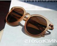 Tide goods fashion round box frosted frame brown sunglasses new big texture high-grade sunglasses female retro glasses