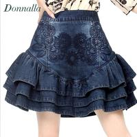 Cake Denim Skirt Women Embroidery Skirts Fashion Ethnic Elastic Jeans Skirt Sexy Hot Women Denim Mini