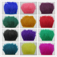 Wholesale 100 yard ostrich feather trims 10 15CM high quality natural ostrich feather ribbon fringe for skirt Wedding decoration