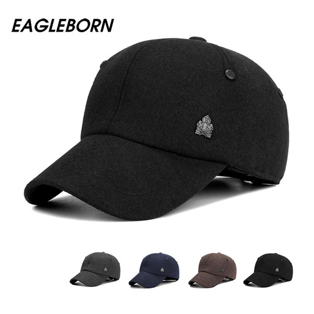 2017 Warm Winter Thickened Baseball Cap With Ears Men S Cotton Hat Snapback  Winter Hats Ear Flaps 6458d77bbfb