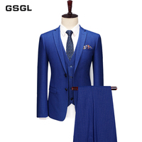 3 Piece Mens Chalk Stripe Suit Royal Blue Mens Suits Blazer Vests Pants Single Breasted Pinstriped Notch Lapel Suit