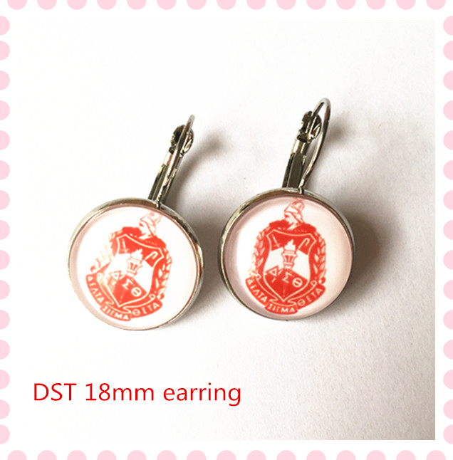 Delta Sigma Theta Earrings: 2017 New DST Crest Charm Glass Copper Earring Delta Sigma