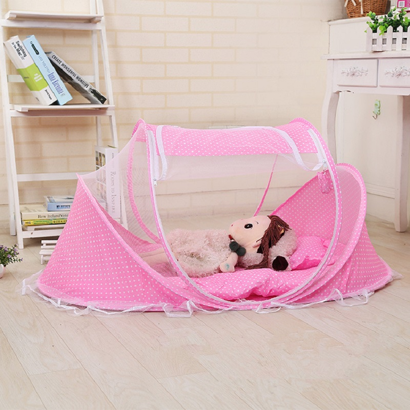 Hot Portable Baby Kids Bed Mosquito Net Infant Folding Mosquito Netting Curtain Zipper Square