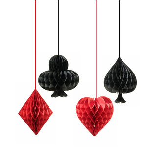 Image 2 - 4PCS Playing Card Casino Decoration Themed DIY Dangling Party Hanging Ornament Honeycomb Paper Craft Stage Mariage Backdrop