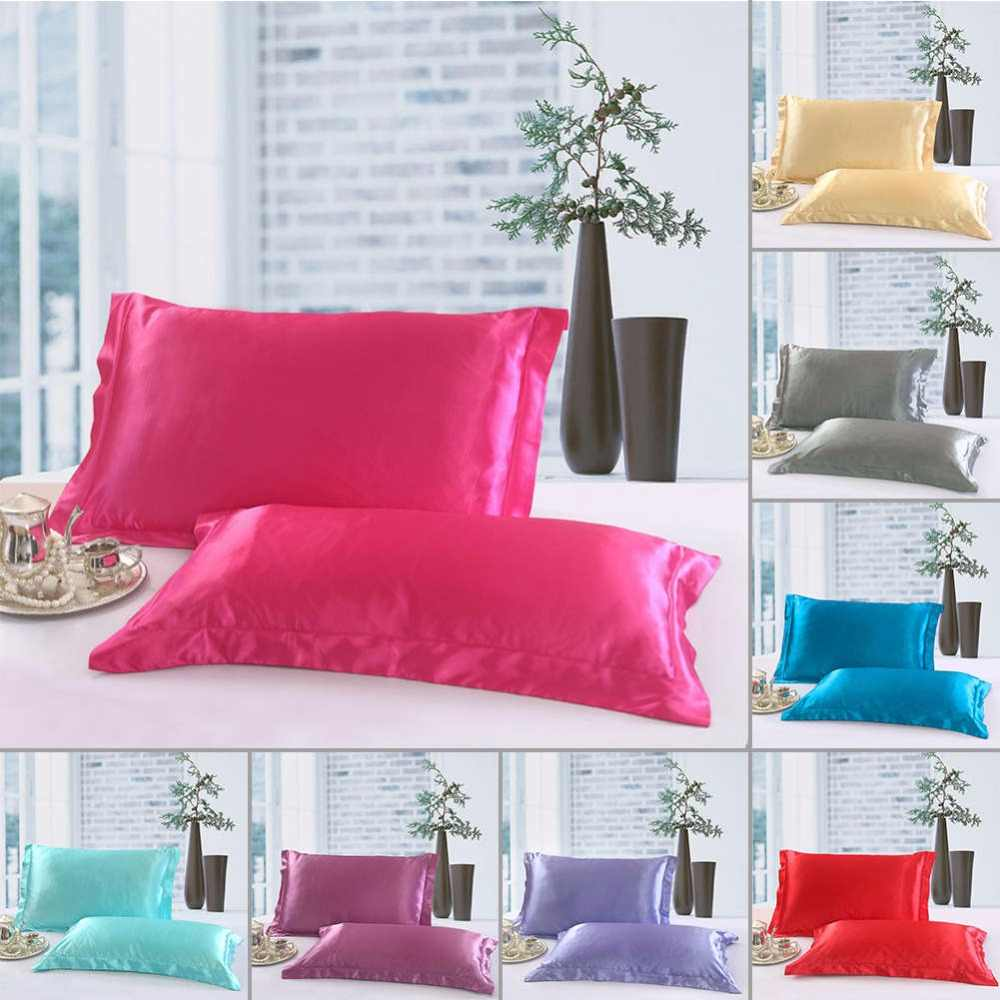 1/2 Pcs/Set New Standard Size Polyester Satin Pillowcase ,100% Imitation Silk Solid Color Soft Comfortable Pillow Cover 27