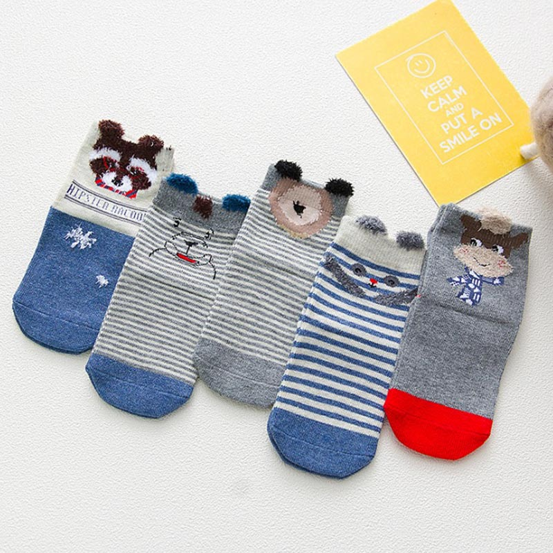 Autumn cartoon kids socks unisex children winter SOCK breathable Elastic comfortable children socks 1 5T 5pairs lot in Socks from Mother Kids