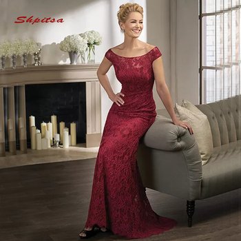 4b154e0d743 Elegante Borgoña encaje Madre de la novia vestidos para bodas una línea vestidos  de noche Formal