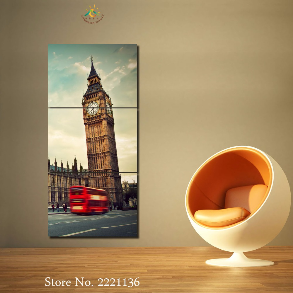 3-4-5 panels/set Eiffel Tower Red Bus New HD Art Canvas Painting Print Living Room Decorations For Home Wall Art Prints Canvas