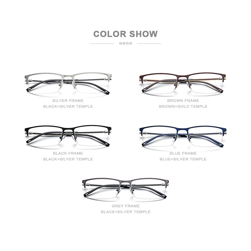 Image 5 - FONEX Alloy Glasses Frame Men Ultra Light Half Square Myopia Prescription Eyeglasses 2019 New Optical Frames Screwless Eyewear-in Men's Eyewear Frames from Apparel Accessories