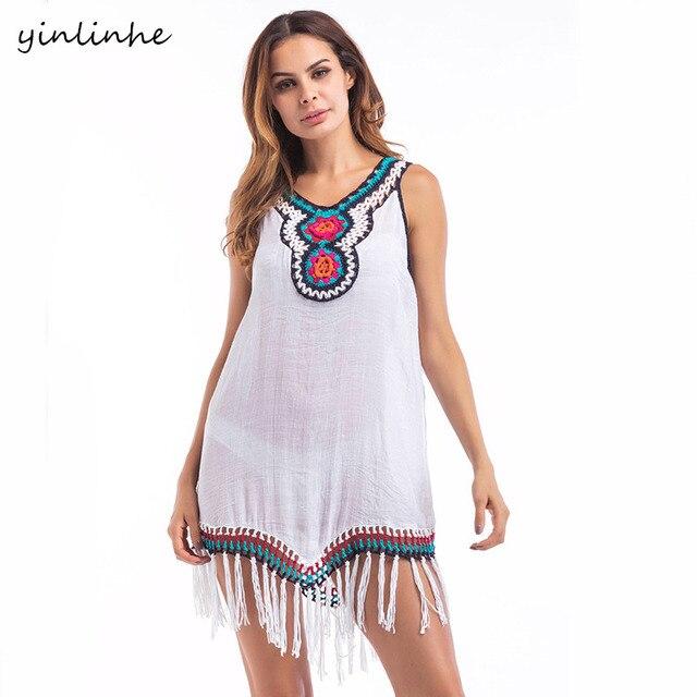 Yinlinhe Sleeveless Flower Embroidery Sexy White Beach Dress Women
