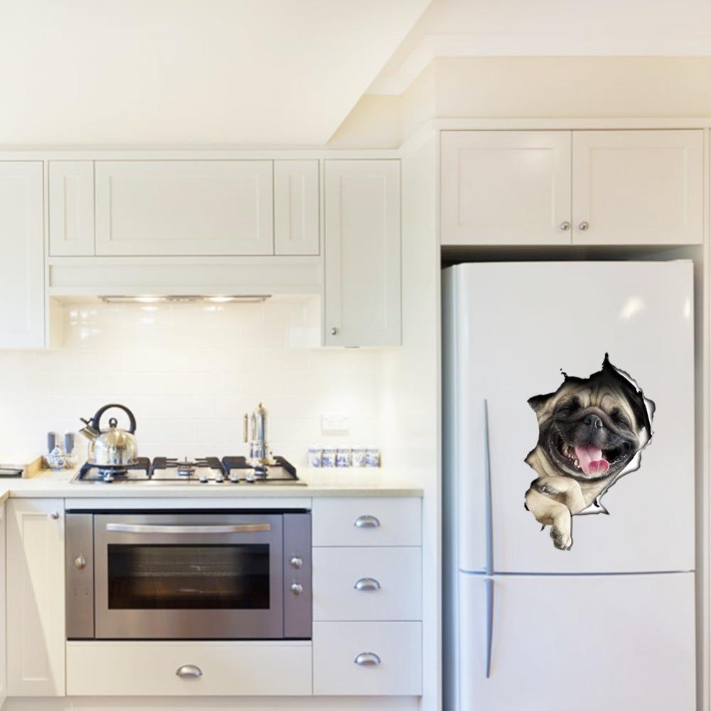 3D Hole Vivid dog broken throught the wall sticker kitchen fridge ...