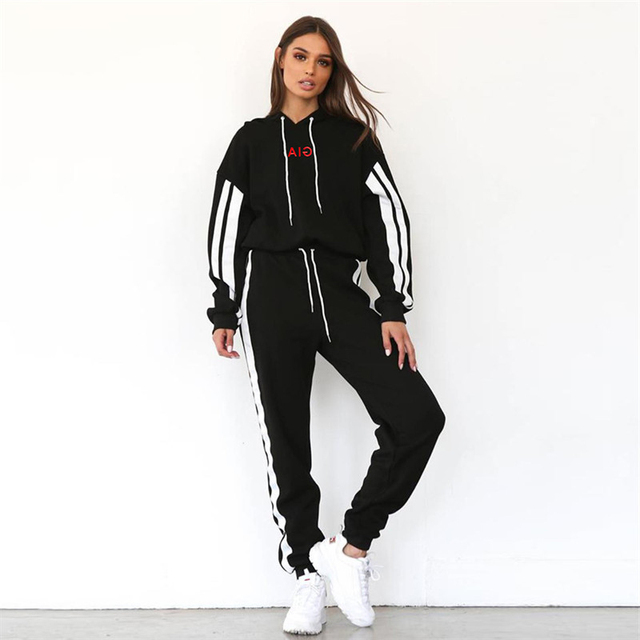 2 TWO PIECE SET Hoodies Women Jogger Pants Tracksuit Embroidery Sweat Suits  Leisure Thick Winter Outfit a0b8948a4