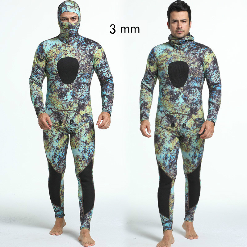 3mm Diving Suit Long Sleeve Mergulho Full Body Warmth Sunblock Surf Wetsuit with Headgear Men's Sportswear Size S XXL-in Wetsuit from Sports & Entertainment    3