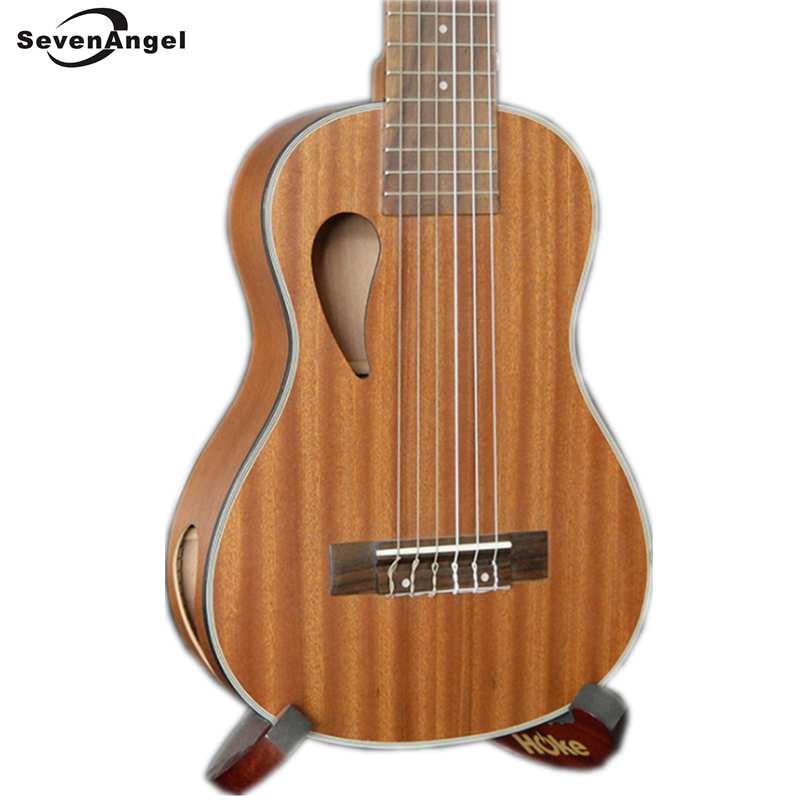 Ukulele 28 Inch 6 Strings Hawaiian Guitar Ukelele Sapele Uku music instrument Electric Ukulele with Pickup EQ  plywood