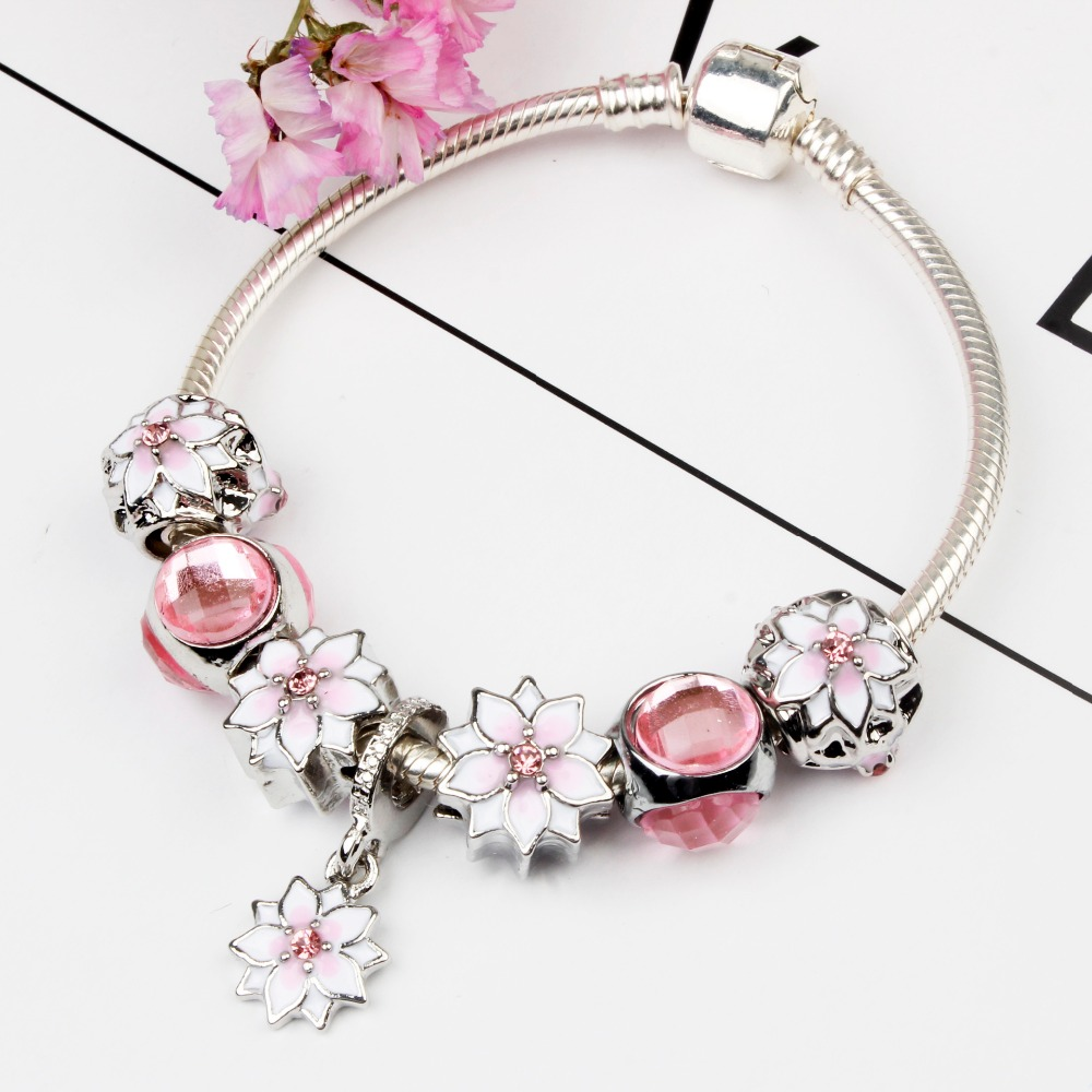 Homhul Pink Magnolia Charm Bracelet Silver Plated Diy Jewelry With  Birthstone Beads For Women Gift Jp45