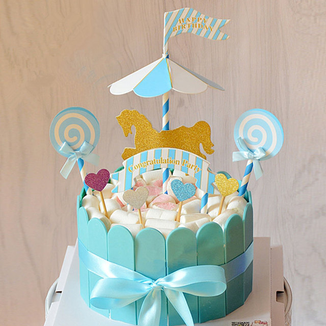 1 Set Carousel Horse Cake Topper Creative Horse Cupcake with Flags ...