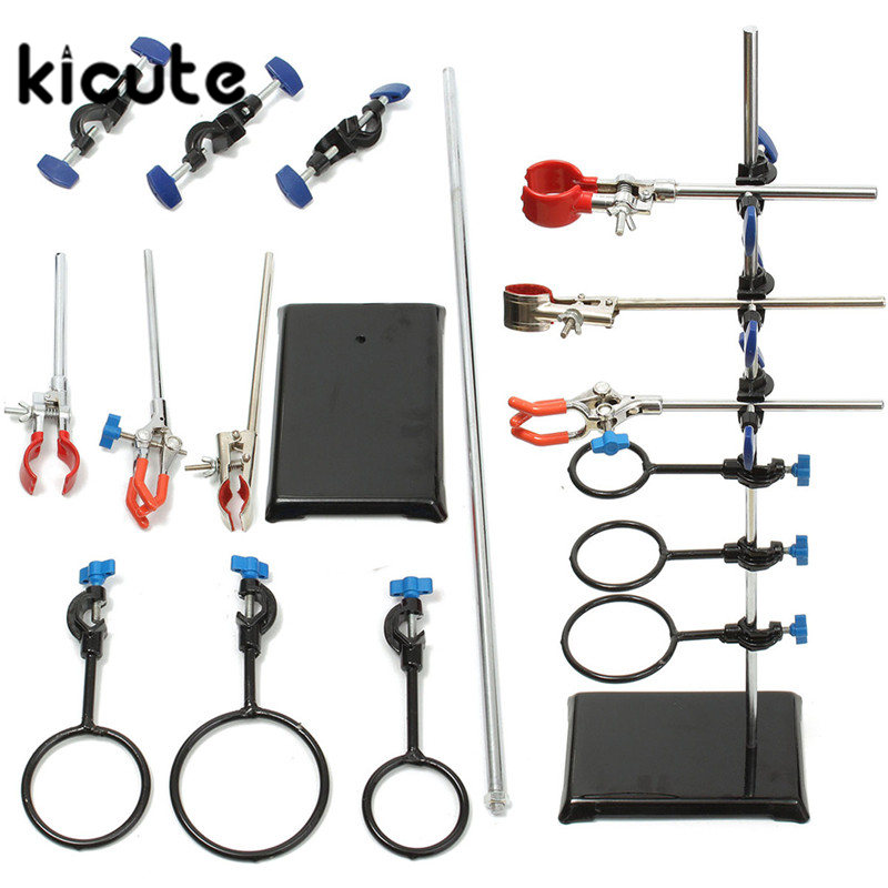 KiCute New Laboratory Stands Support Lab Clamp Flask Clamp Condenser Clamp Stands Equitement Set 60cm School Laboratory Supply