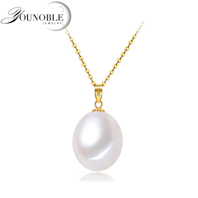 18K Gold Pendant Freshwater Water drop Pearl Necklace for Women,Trendy Love Girl