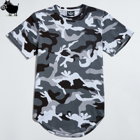 New Camouflage T Shirt Men 2017 Summer Longline Extended Curved Hem Various Camo T Shirts Urban