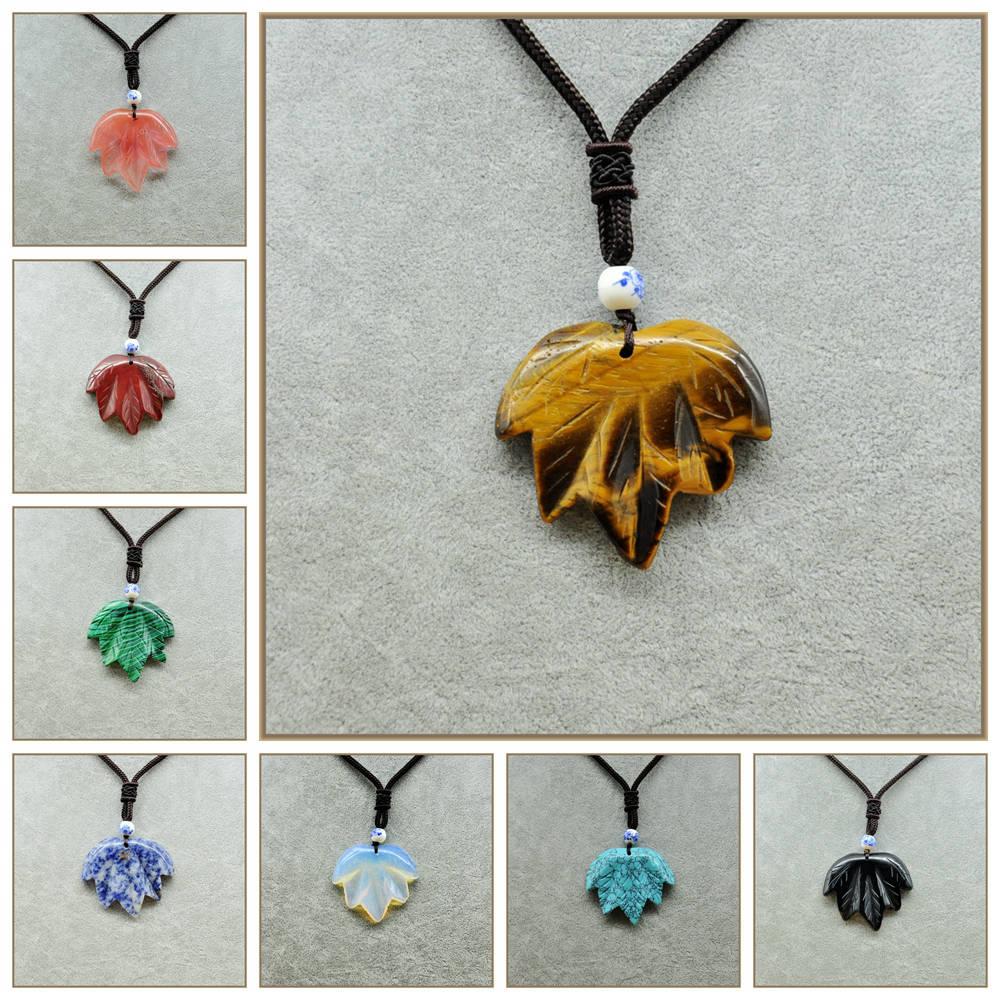 Yumten Joya Rubi Necklace Leaf Pendant Kehribar Kolye Jasper Amber Natural Stylish Simplicity Colar Feminino Morganite