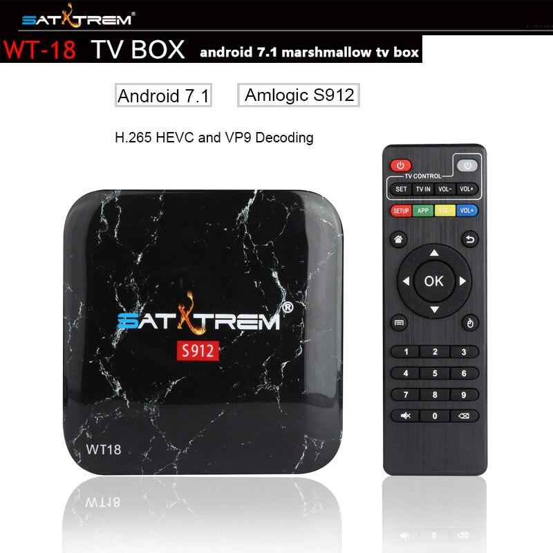 SATXTREM WT18 TV Box Amlogic S912 Octa core Android 7.1 HDMI 2.0 4K Play 3GB Ram 32GB Rom Support Bluetooth,Google Play,Youtube