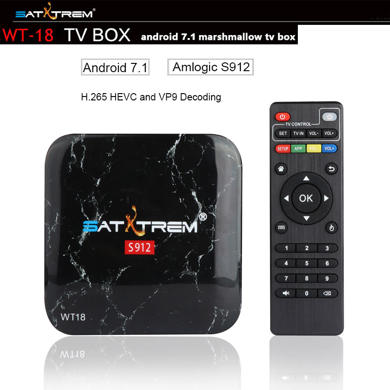 SATXTREM WT18 TV Box Amlogic S912 Octa core Android 7.1 HDMI 2.0 4K Play 3GB Ram 32GB Rom Support Bluetooth,Google Play,Youtube