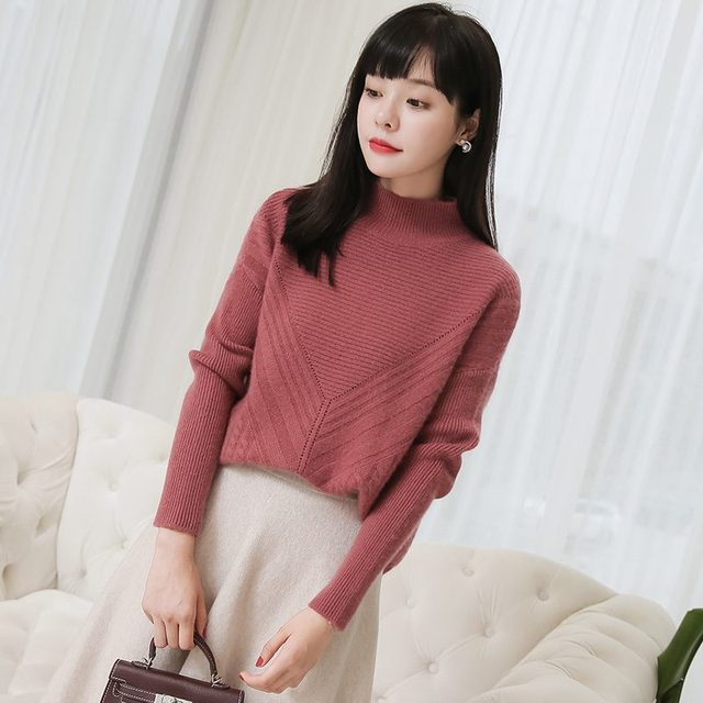 2d9f8f1c68cd70 2018 Women 100% Thick Pullover Cashmere Rib High Neck Diamond Brocade And  Cable Long Rear Pullover 7G Sweater Winter jumper r28