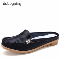 2017 New Women S Sandals Summer Half Slippers Genuine Leather Women Flats Easy Wear Female Loafers