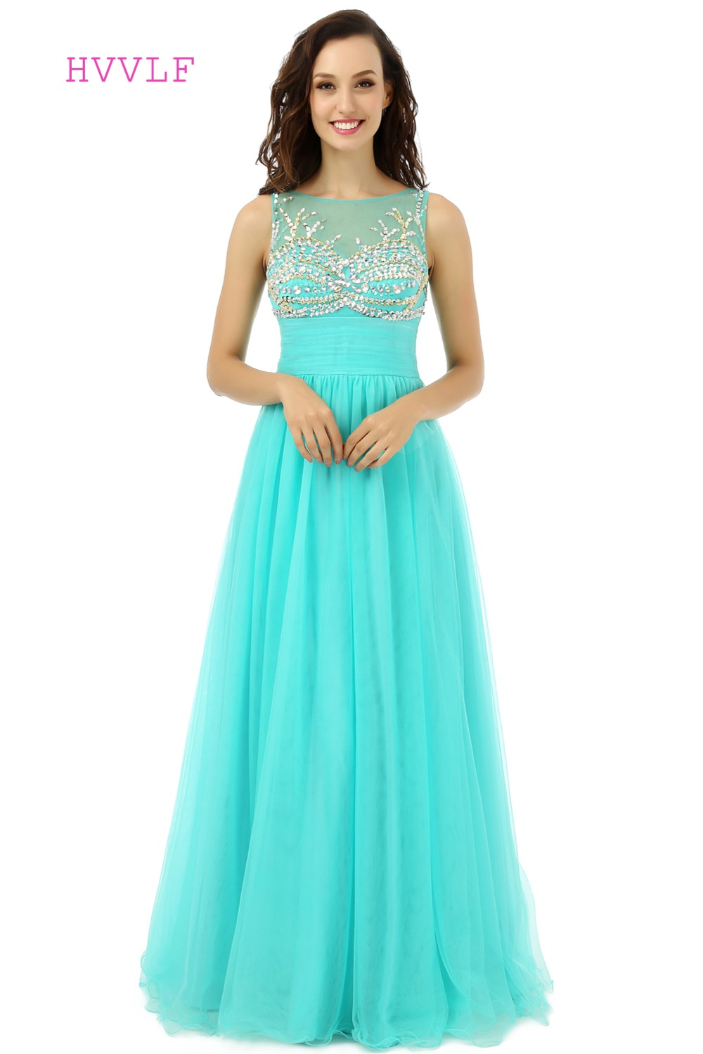 Turquoise Evening Dresses 2018 A line Floor Length Organza Beaded ...