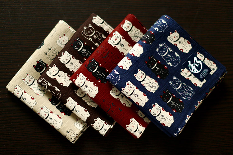 Made In Japan Wind Handkerchief Handkerchief Women Cotton Ms. Thicken Cat Square Scarf