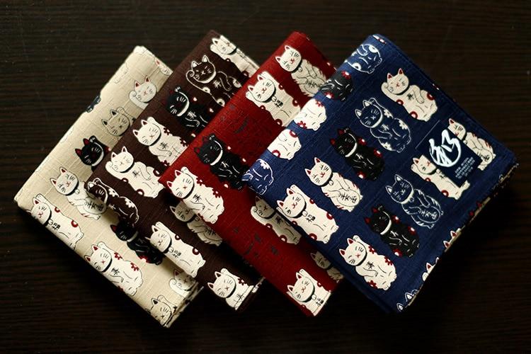 Made In Japan Wind Handkerchief Handkerchief Women Cotton Ms. Thicken Cat Square Scarf